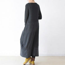 Load image into Gallery viewer, Cute Sweater weather plus size o neck baggy dresses dark gray daily knit dress