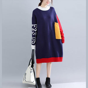 Cute blue o neck Sweater weather Vintage patchwork  Tejidos knit dress autumn