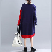 Load image into Gallery viewer, Cute blue o neck Sweater weather Vintage patchwork  Tejidos knit dress autumn