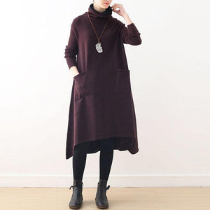Cute burgundy Sweater dress outfit Moda Ugly spring high neck asymmetric knit top