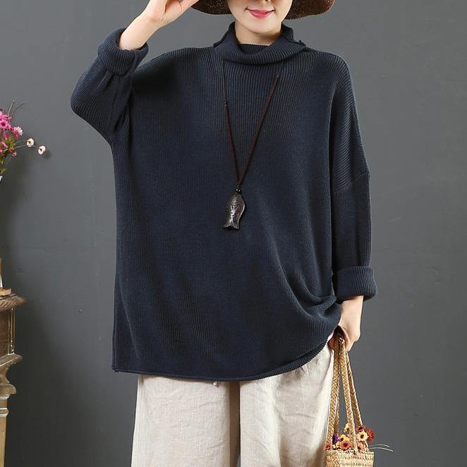 Cute gray blue knit blouse loose oversized high neck sweaters