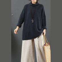 Load image into Gallery viewer, Cute gray blue knit blouse loose oversized high neck sweaters