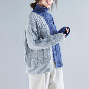 Cute gray blue patchwork  Blouse oversized back front open knitted blouse high neck