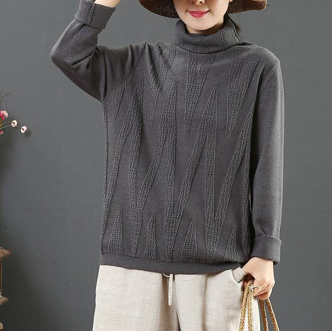 Cute gray wild knitted t shirt winter plus size high neck knitted blouse