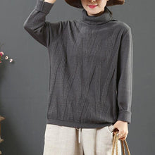 Load image into Gallery viewer, Cute gray wild knitted t shirt winter plus size high neck knitted blouse