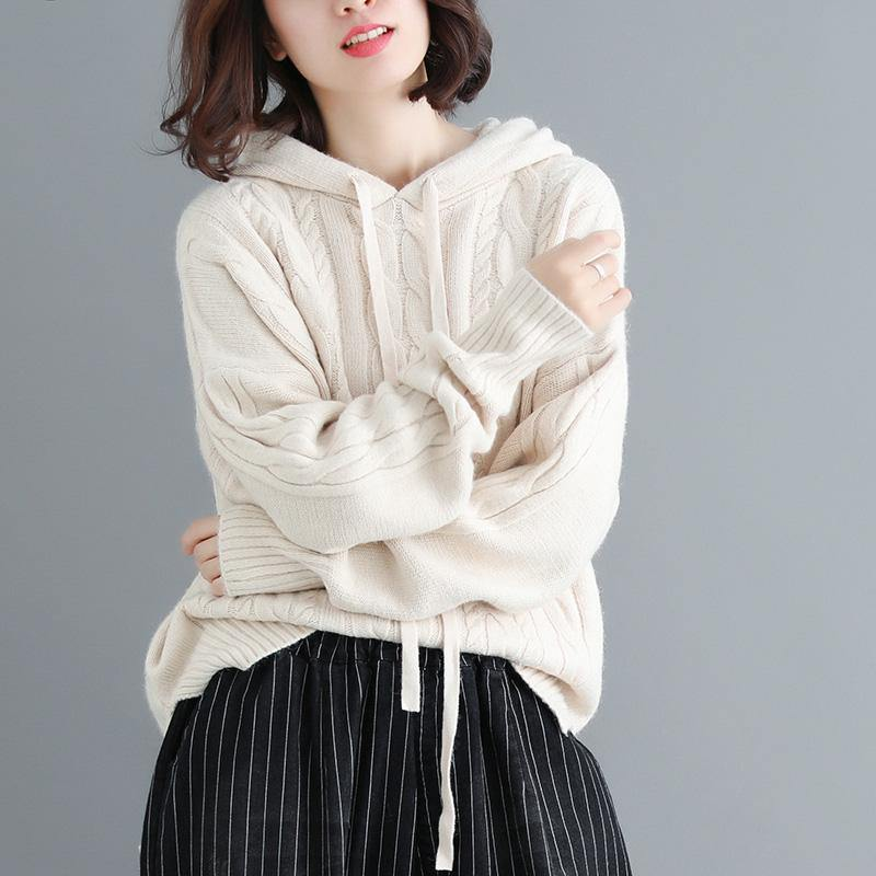 Cute hooded beige box top oversized fall knitwear wild