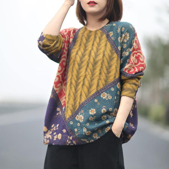 Cute patchwork knit blouse oversized fall knit tops o neck