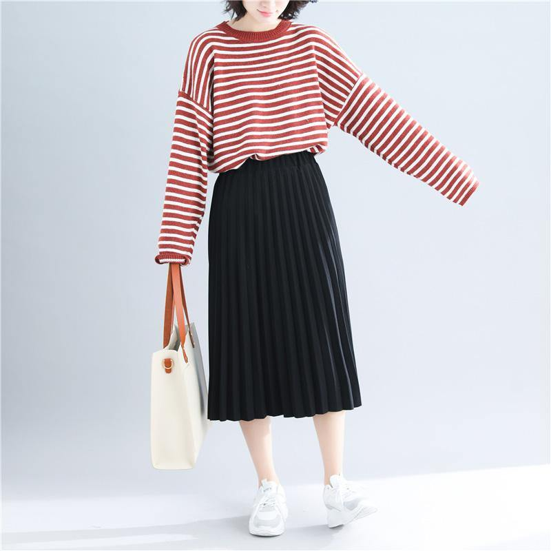 Cute red striped sweater coat Loose fitting knitted tops