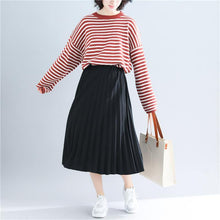 Load image into Gallery viewer, Cute red striped sweater coat Loose fitting knitted tops