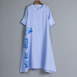Round Neck Short Sleeve Pockets Stripe Blue Dress