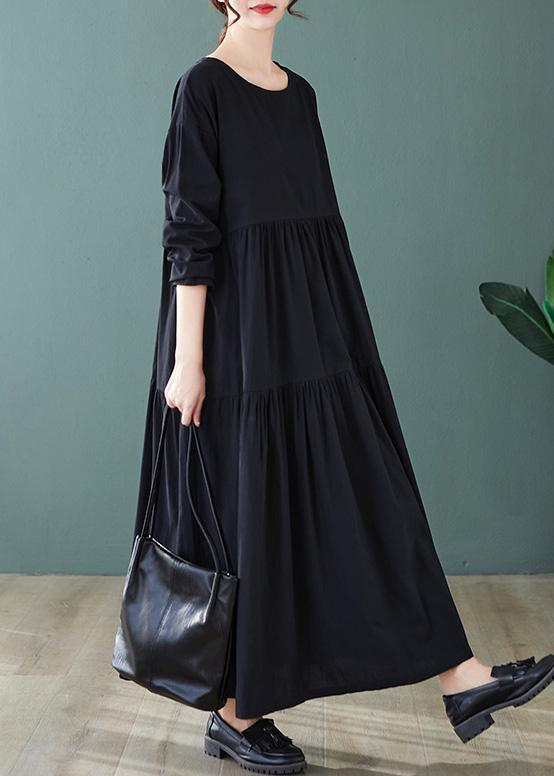 DIY Black Dresses O Neck Cinched Maxi Spring Dress