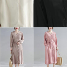 Load image into Gallery viewer, DIY Black Quilting Clothes V Neck Drawstring Robes Spring Dress