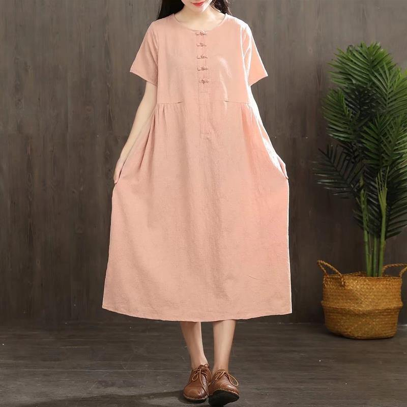 DIY Chinese Button linen Soft Surroundings Sewing pink Dresses summer