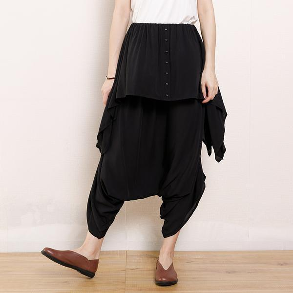 DIY Fun Cotton Solid Irregular Pockets Full Length Pants