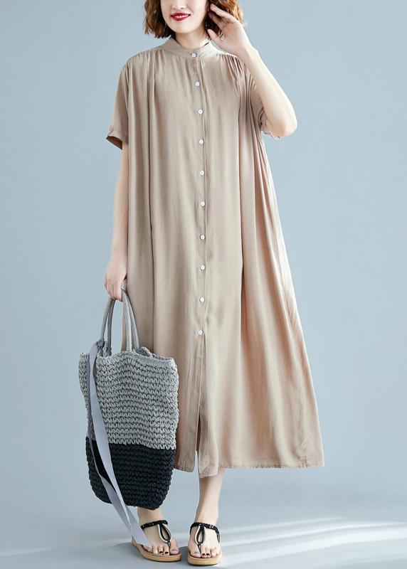 DIY Stand Collar Summer Tunic Pattern Design Nude Dress
