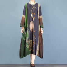 Load image into Gallery viewer, DIY asymmetric o neck clothes Women Sewing black print long Dress