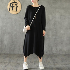 DIY black cotton clothes For Women o neck asymmetric Maxi Dresses