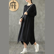 Load image into Gallery viewer, DIY black cotton clothes For Women o neck asymmetric Maxi Dresses