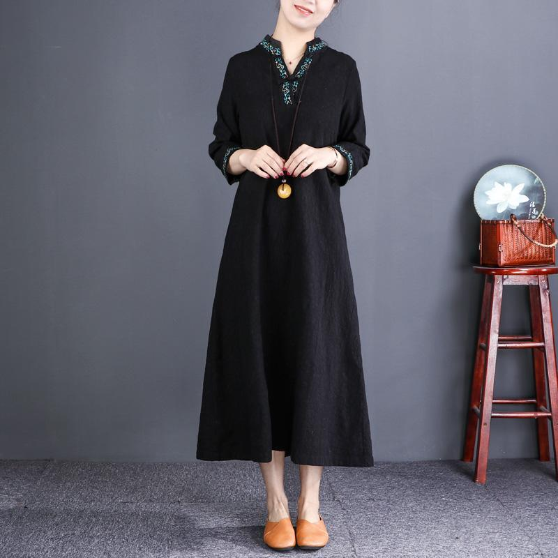 DIY black linen clothes top quality Cotton v neck embroidery Plus Size Dress