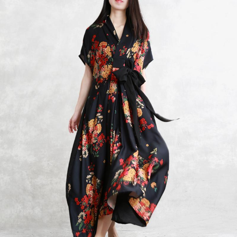DIY black print Wardrobes v neck tie waist pockets A Line summer Dresses