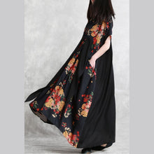 Load image into Gallery viewer, DIY black print Wardrobes v neck tie waist pockets A Line summer Dresses