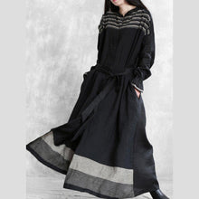 Load image into Gallery viewer, DIY black striped Fashion clothes Shirts tie waist pockets outwear