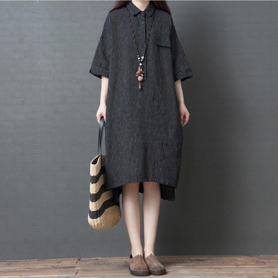 DIY black striped cotton Wardrobes lapel half sleeve A Line summer Dress