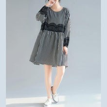 Load image into Gallery viewer, DIY black white striped clothes Boho Tutorials lantern sleeve tunic Dresses