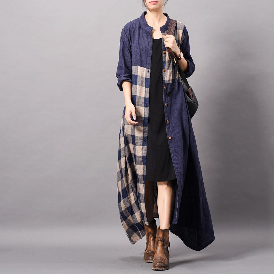 DIY blue plaid cotton clothes Omychic stand collar patchwork Traveling spring Dress