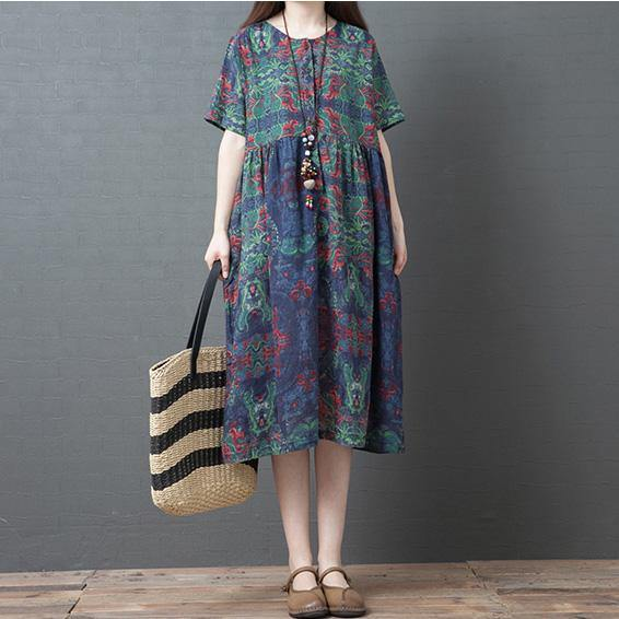 DIY blue print cotton linen Tunic o neck pockets A Line summer Dress