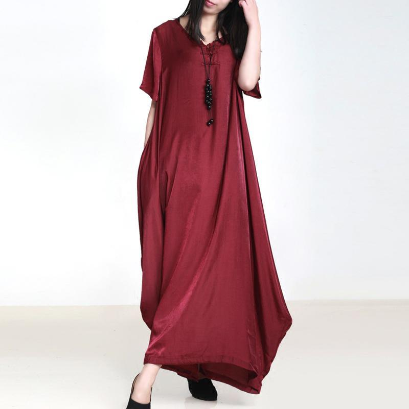 DIY burgundy clothes For Women v neck pockets Vestidos De Lino summer Dresses