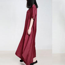 Load image into Gallery viewer, DIY burgundy clothes For Women v neck pockets Vestidos De Lino summer Dresses