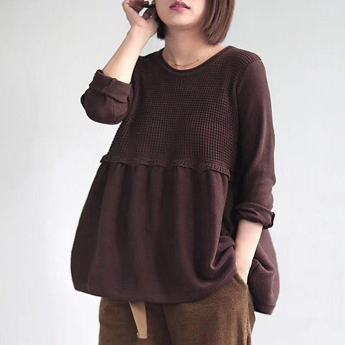 DIY chocolate cotton Shirts o neck Plus Size Clothing fall shirts