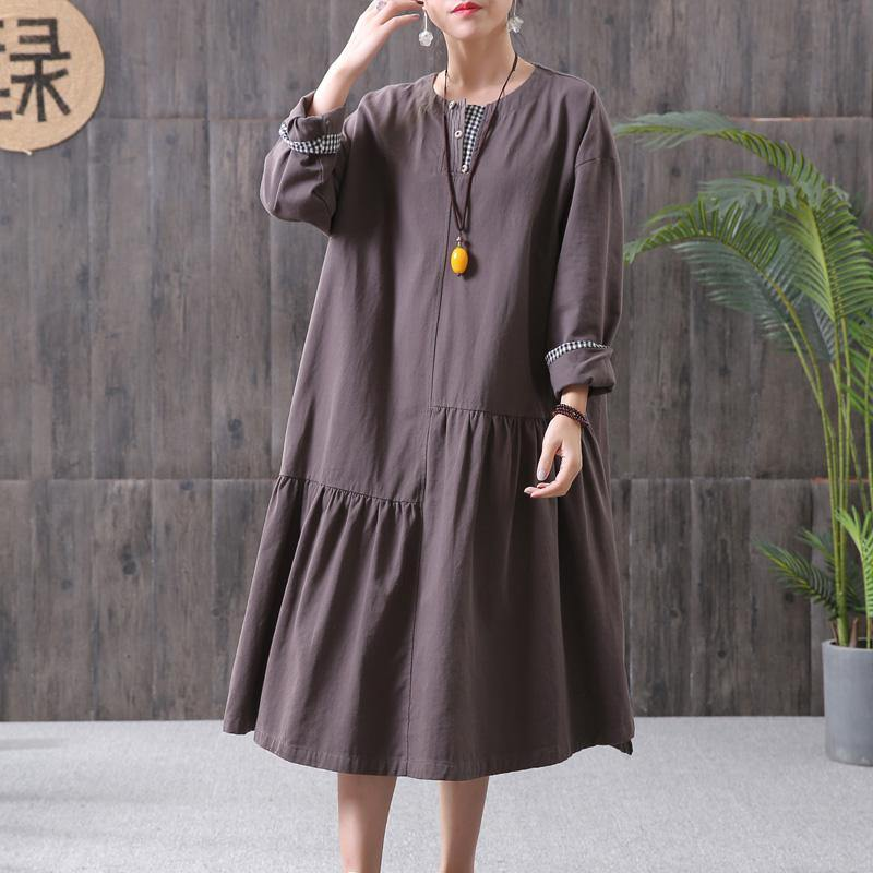 DIY cotton chocolate quilting clothes Stitches Women Pleated Spliced Spring Casual Loose Midi Dress