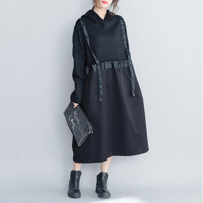 DIY cotton dress top quality false two pieces hooded Runway black cotton robes Dress