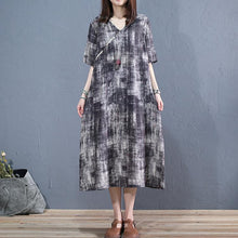 Laden Sie das Bild in den Galerie-Viewer, DIY dark gray linen clothes v neck short sleeve long summer Dress