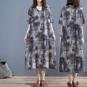 DIY dark gray linen clothes v neck short sleeve long summer Dress