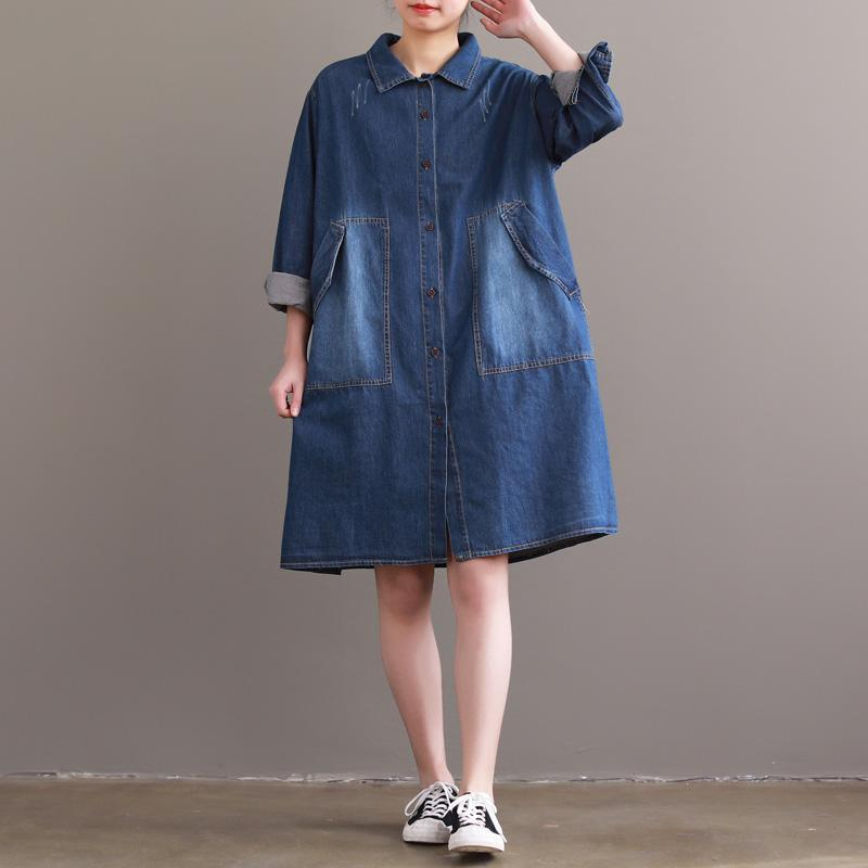 DIY denim blue Cotton tunic top Metropolitan Museum Sleeve lapel Large pockets Vestidos De Lino Dresses