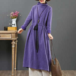 DIY drawstring cotton high neck dresses linen purple Maxi Dresses