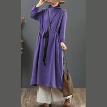 Load image into Gallery viewer, DIY drawstring cotton high neck dresses linen purple Maxi Dresses