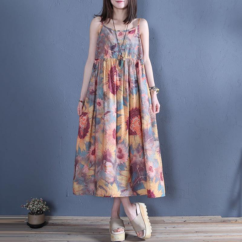 DIY floral cotton linen Spaghetti Strap daily summer Dress