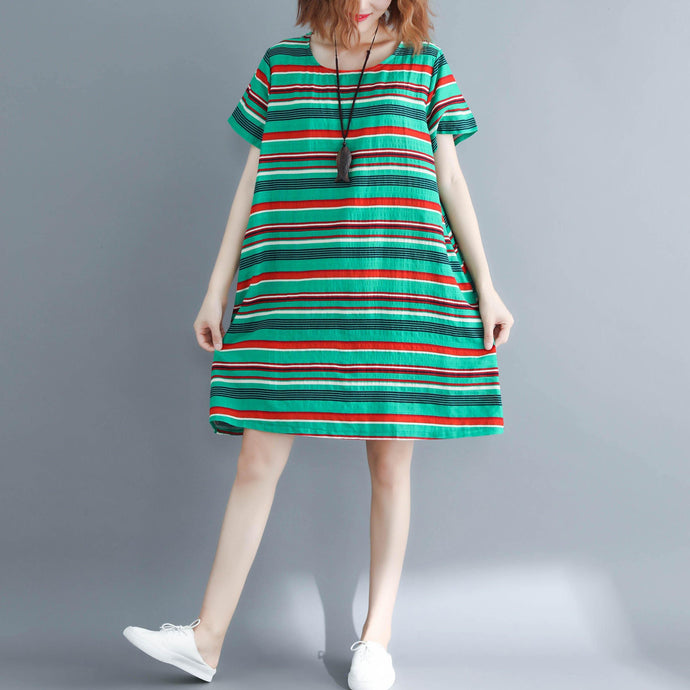 DIY green striped linen dress plus size Fabrics o neck Vestidos De Lino summer Dress