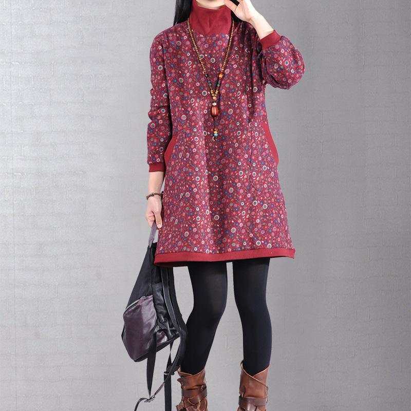 DIY high neck thick Cotton quilting dresses linen red print Dress