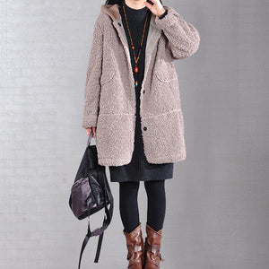 DIY hooded top quality winter trench coat khaki tunic outwears