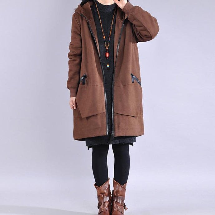 DIY hooded zippered Fashion coats women chocolate Plus Size Clothing coat