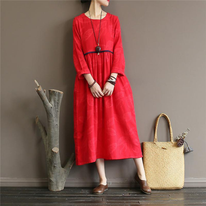 DIY jacquard linen high neck clothes For Women Work Outfits red Dress
