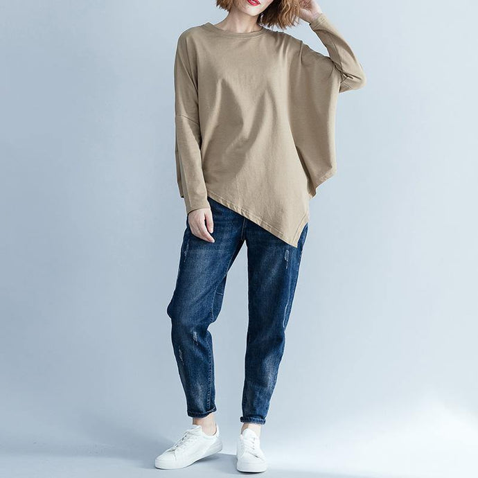 DIY khaki cotton Blouse Fine Christmas Gifts o neck asymmetric Art  blouse