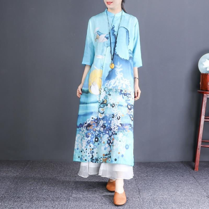 DIY light blue print linen Robes Korea stand collar Button Down Robe Dresses