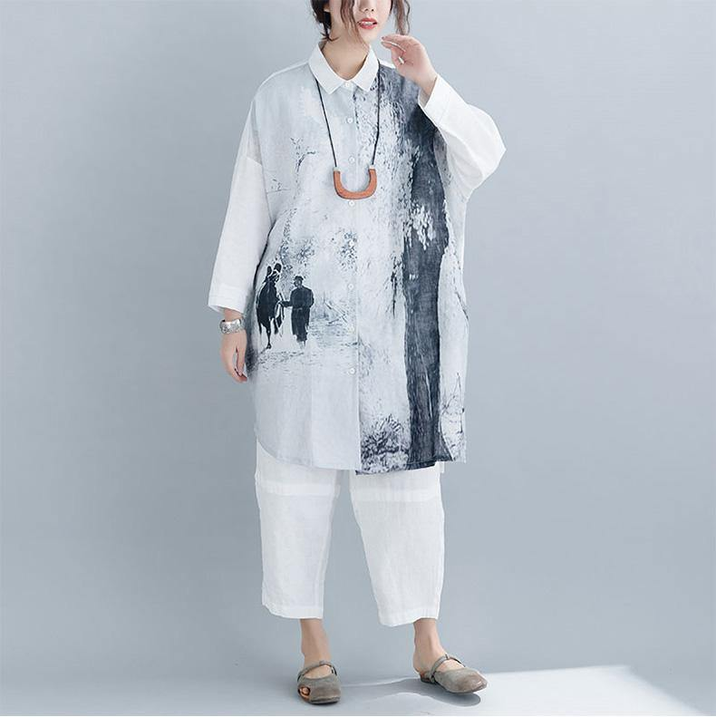 DIY linen clothes For Women Boho Turn-down Collar Sleeve gray print baggy shirts