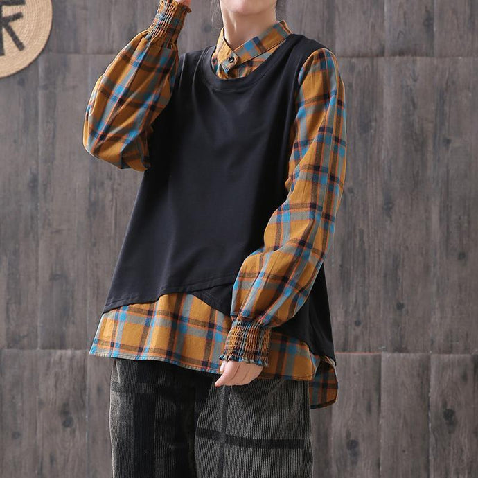 DIY linen clothes For Women Pakistani yellow Plaid Patchwork Lantern Sleeve Women Blouse
